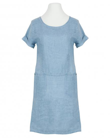 Leinenkleid Washed Look, hellblau