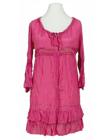 Long Bluse mit Seide, pink