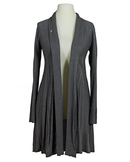 Damen Long Strickjacke A Schnitt, grau