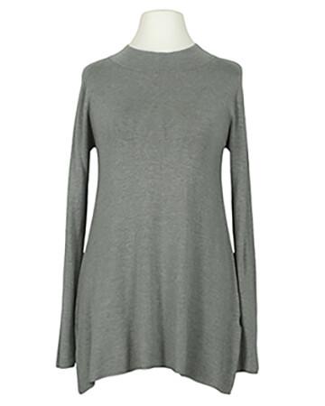 Long Pullover Feinstrick, grau