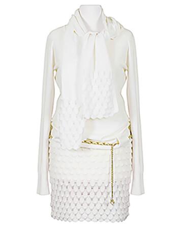 Long Pullover mit Schal, ecru
