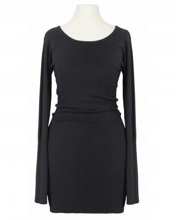 Long Pullover mit Schnürung, schwarz
