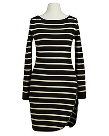 Long Pullover Streifen, schwarz ecru