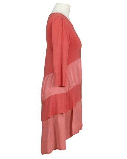 Long Shirt mit Satin, koralle