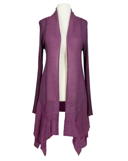 Long Strickjacke, aubergine (Bild 1)