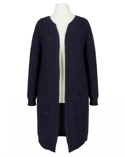 Long Strickjacke Grobstrick, blau (Bild 1)