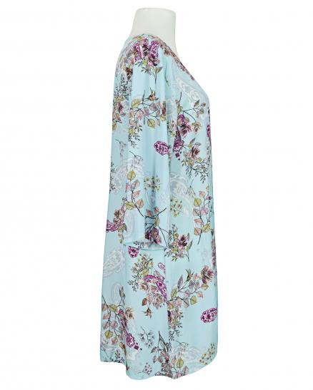 Long Tunika Floral, hellblau