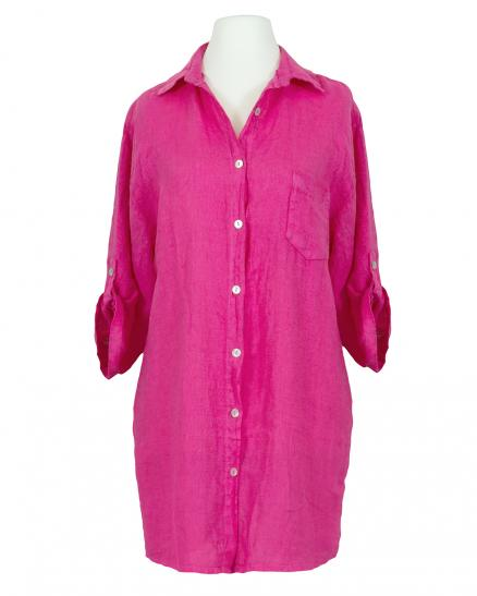 Longbluse Leinen, pink