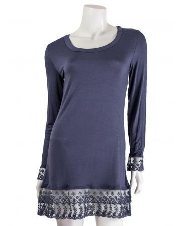 Longshirt mit Spitze, blau