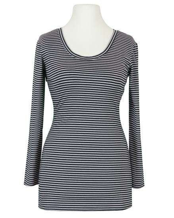 Longsleeve Streifen, schwarz grau