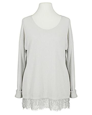 Lurex Shirt mit Spitze, grau