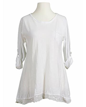 Pailletten Shirt A-Form, weiss