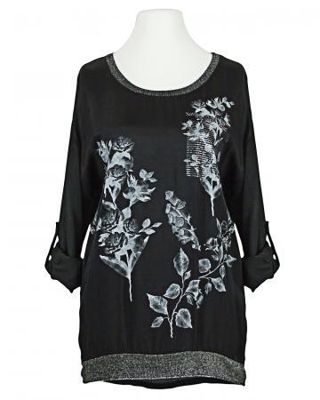Print Blusenshirt mit Seide, schwarz