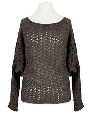 Pullover aus Ajourstrick, braun