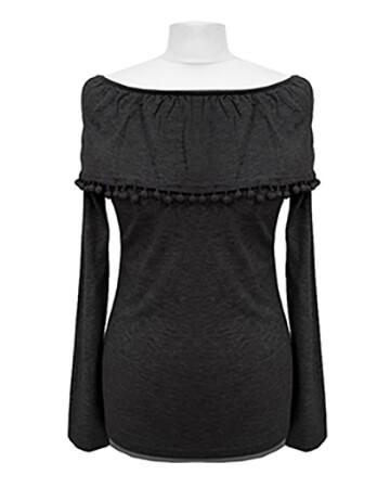 Pullover mit Bommeln, schwarz (Bild 1)