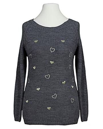 Pullover mit Herzen, grau (Bild 1)