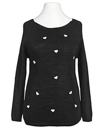 Pullover mit Herzen, schwarz (Bild 1)