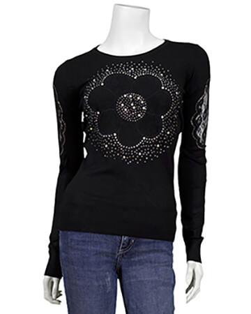 Pullover mit Spitze, schwarz