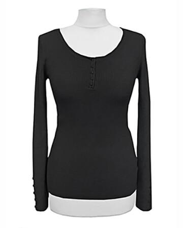 Pullover Rippstrick, schwarz