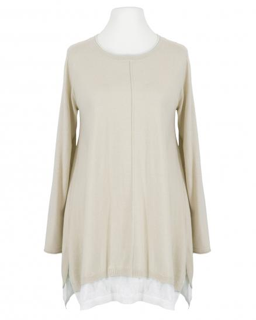 Pullover Tunika Stil, beige