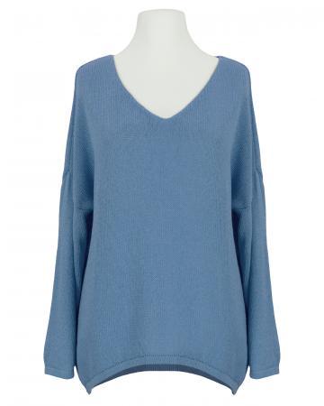 Pullover V-Ausschnitt, jeansblau