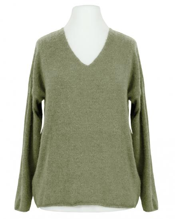 Pullover V-Ausschnitt, khaki