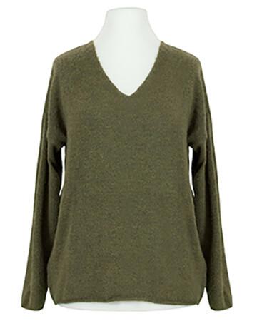 Pullover V-Ausschnitt, oliv
