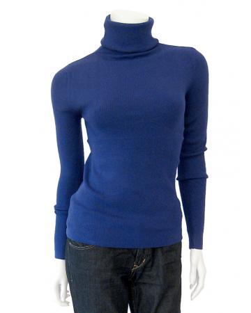 Rollkragenpullover mit Kaschmir, blau