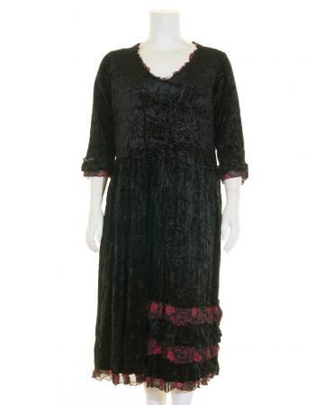 Samtkleid A-Form lang, schwarz (Bild 1)