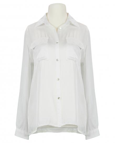 Satin Bluse, weiss