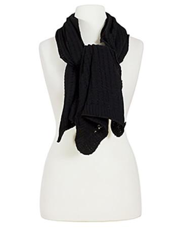 Schal Ajourmuster, schwarz