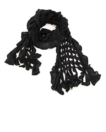 Schal mit Ajourmuster, schwarz (Bild 1)