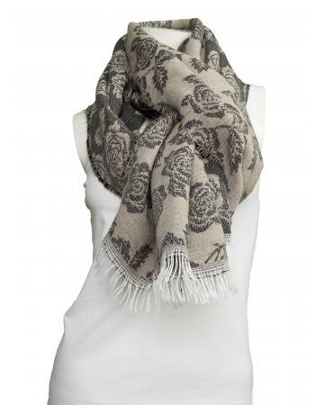 Schal mit Rosen Muster, braun (Bild 1)