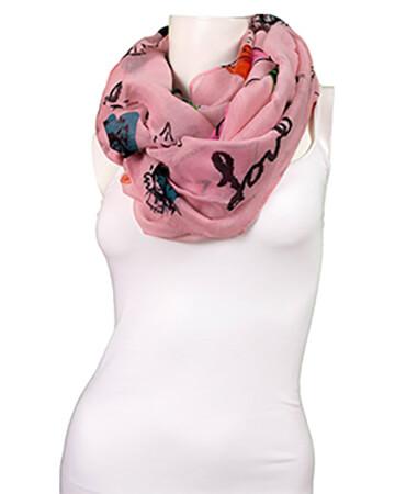 Schlauchschal mit Print, rosa (Bild 1)