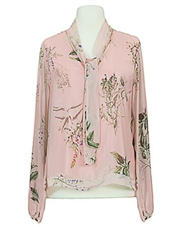 Schluppenbluse Floral mit Seide, rosa