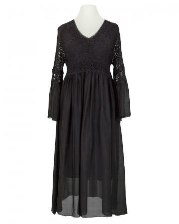 Seidenkleid mit Spitze, schwarz