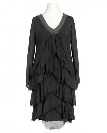 Seidenkleid Volant, schwarz