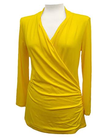 Jersey Shirt Wickeloptik, gelb (Bild 1)