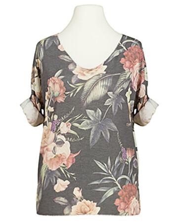 Shirt mit Blumenmuster, grau (Bild 1)