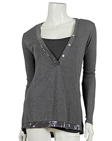 Damen Shirt mit Pailletten 2-tlg., grau
