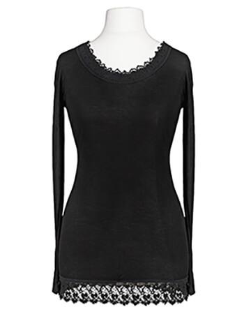 Shirt mit Spitze, schwarz (Bild 1)