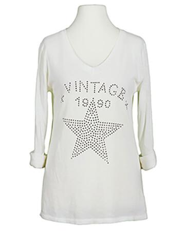 Shirt Print langarm, milchweiss