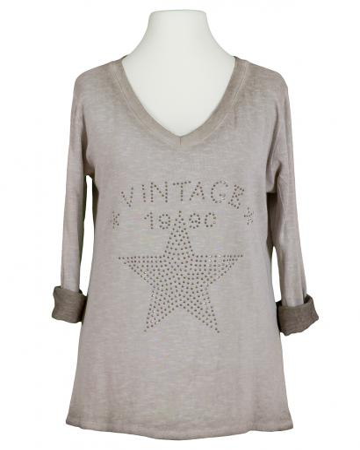 Shirt Print langarm, taupe