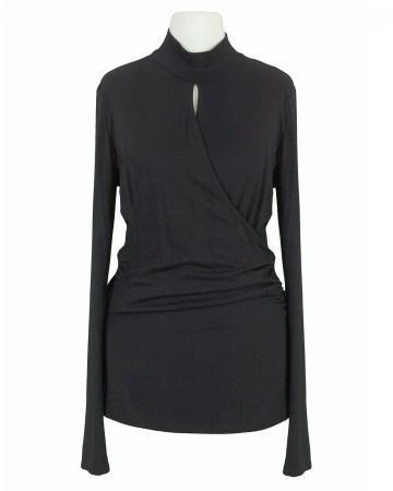Shirt Wickeloptik, schwarz