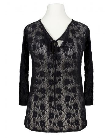 Jersey Spitzenshirt, schwarz