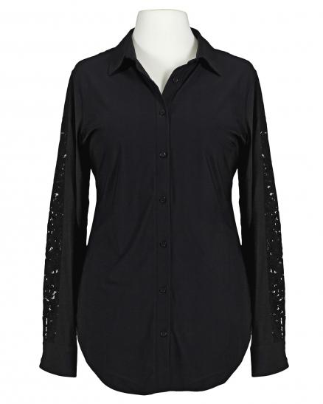 Jersey Bluse mit Spitze, schwarz