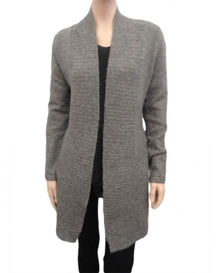 Damen Strick Long Cardigan, grau braun