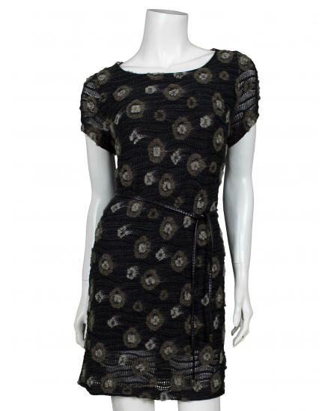 Strick Tunika Kleid, schwarz