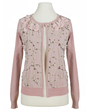 Strickjacke Blütenstickerei, rosa