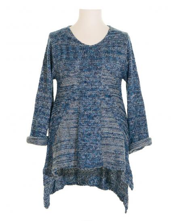 Stricktunika Pullover, blau